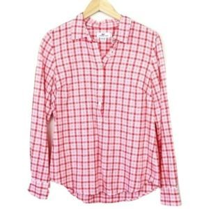 Vineyard Vines Pink Gingham Popover Button-up